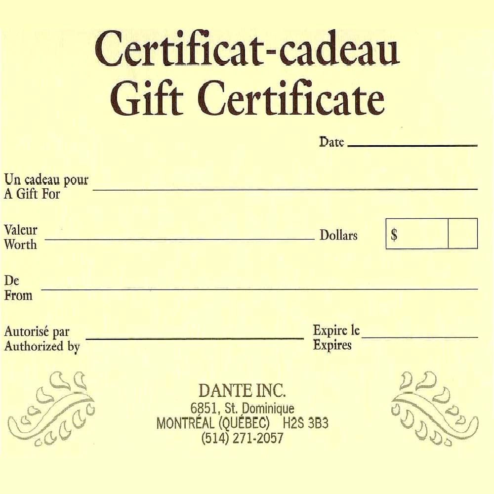 25 Gift Certificate Gift Certificates Quincaillerie Dante