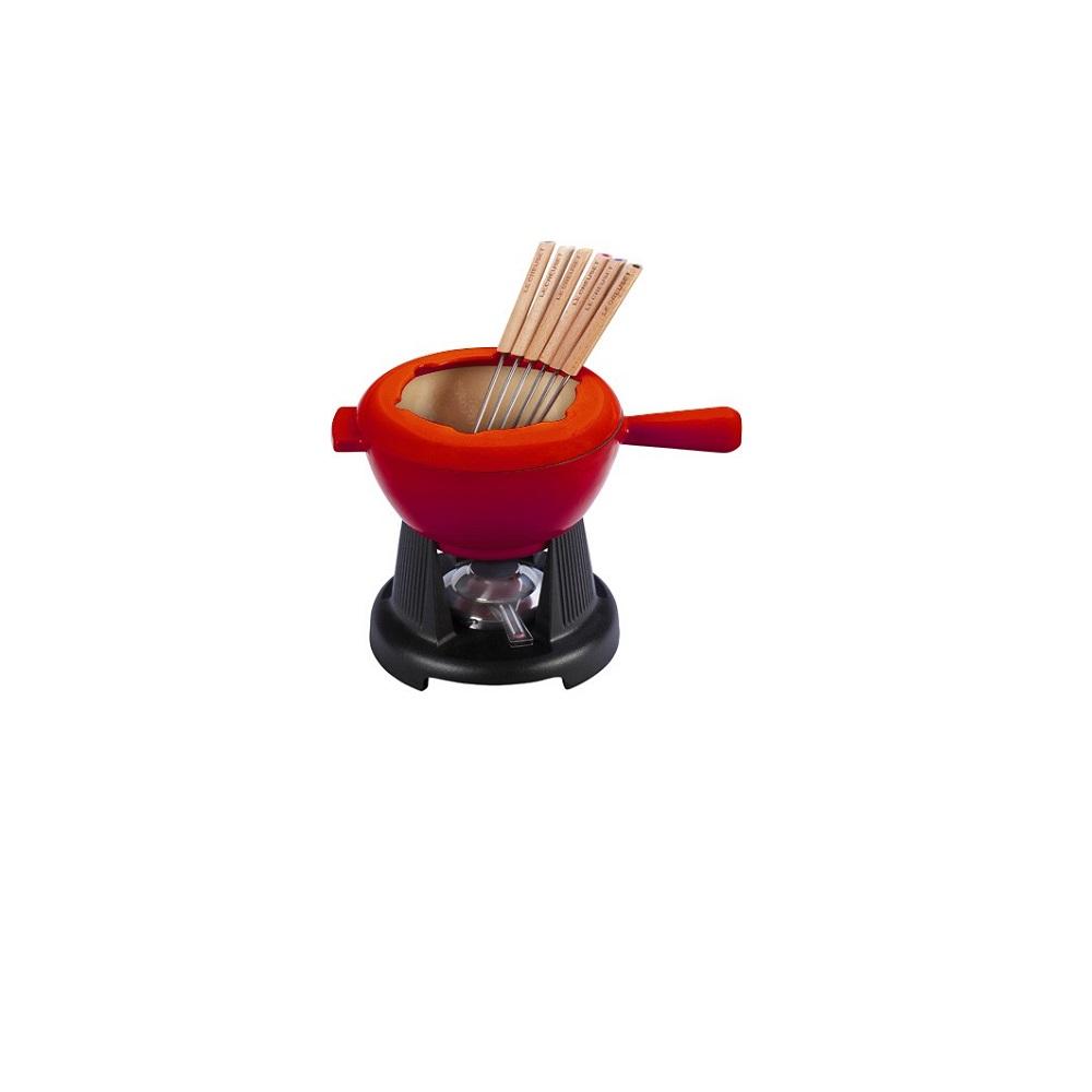 le creuset service fondue cerise table quincaillerie dante. Black Bedroom Furniture Sets. Home Design Ideas